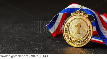 Gold Medal With Ribbons. Award For First Place In The Competition. Prize To The Champion. Black Back