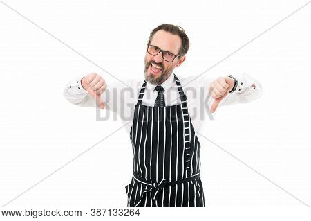 Bad Chef. Mature Male Cook Isolated On White. Cooking In Kitchen. Catering Business. Confident Chef