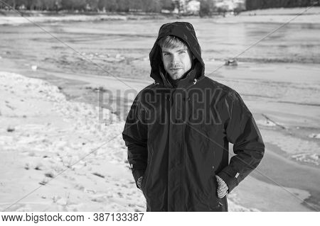 Active Rest. Travel And Expedition Concept. Man In Parka. Winter Male Fashion. Warm Clothes For Cold