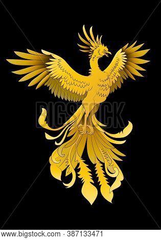Illustration Of A Golden Phoenix Oriental Mystical Beast Flying Over Black Background