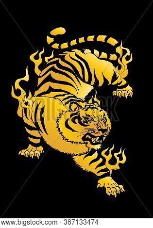 Illustration Of A Golden Tiger Oriental Mystical Beast Flying Over Black Background