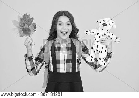 Back To Toy School. Happy Small Child Hold Toy And Autumn Leaves. Little Schoolgirl Smile With Toy D