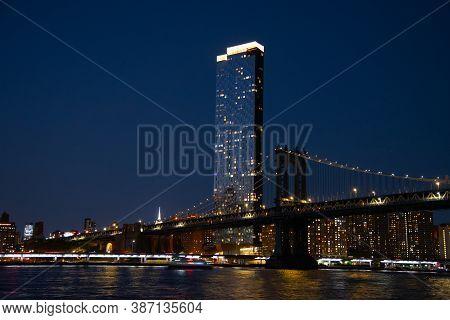 Brooklyn Bridge And The Lower Manhattan Skyline Panorama From Brooklyn Bridge Park America Water