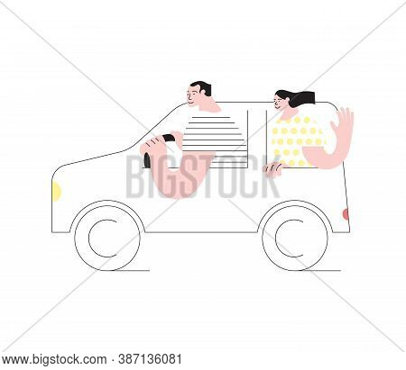 Young Married Couple Traveling By Car. People In Inexpensive Vacation. Domestic Tourism Concept In S