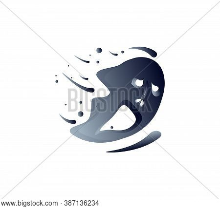 Spooky Blurred Ghost For Halloween Designs. Flying Wicked Ghostly Spook Or Spirit. Flat Art Vector I
