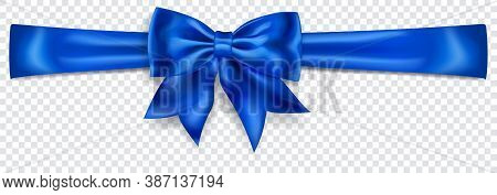 Beautiful Blue Bow With Horizontal Ribbon With Shadow On Transparent Background. Transparency Only I