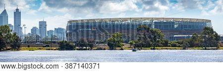 Perth, Wa / Australia - 02/17/2018 Optus Stadium View From The Swan River, Perth Wa