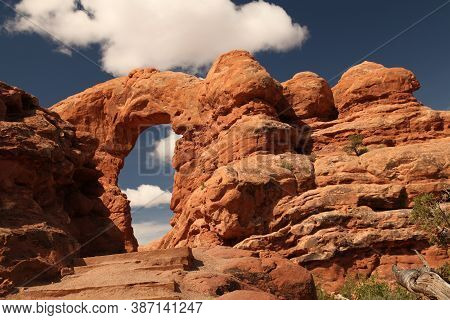Turret Arch Viewed From The Windows Trail In Arches National Park, Utah