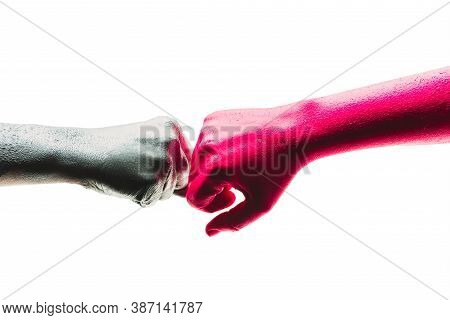 Fist Bump Art. Team Business Partners Giving Fist Bump To Greeting Start Up Project. Corporate Teamw