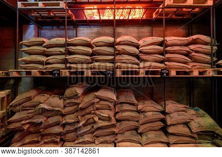 Bangkok, Thailand - 16 September, 2020: Store Of Coffee Bean In Sack Of  Of Nana Hunter Coffee Roast