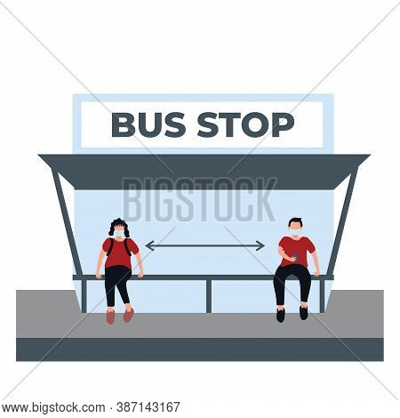 A Man And Woman Doing Social Distancing And Wear Masker At The Bus Stop - Flat Illustrations Isolate