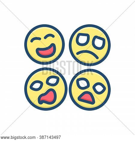 Color Illustration Icon For Emotion Feeling Sense Affection Attachment Expression Emoji Character