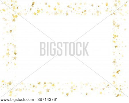 Magic Gold Sparkle Texture Vector Star Background. Astral Gold Falling Magic Stars On White Backgrou