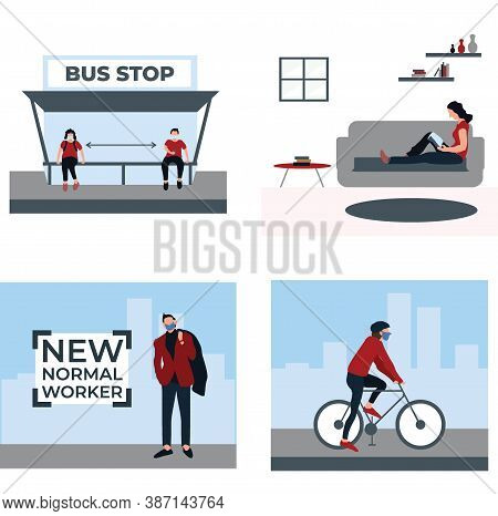 Social Distancing And Wear Masker At The Bus Stop, New Normal Worker, Ride A Bike, Stay At Home - Fl
