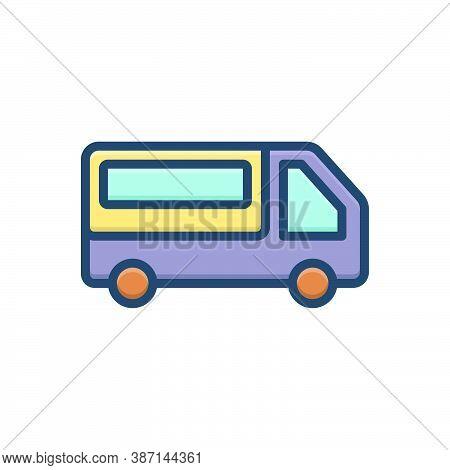 Color Illustration Icon For Pickup-van Pickup Van Transport Mini-bus Automobile