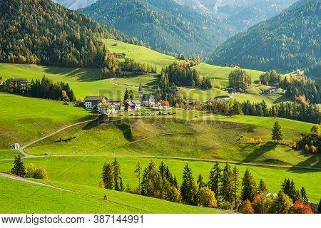 Landscape Of Early Autumn In The Village Of Santa Magdalena In Northern Italy On The Slopes Of The D