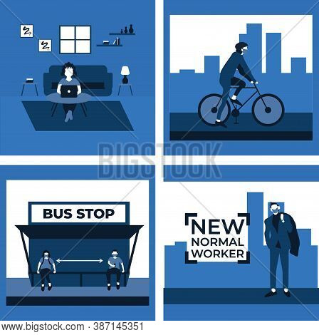 Social Distancing And Wear Masker At The Bus Stop, New Normal Worker, Ride A Bike, Stay At Home - Tw