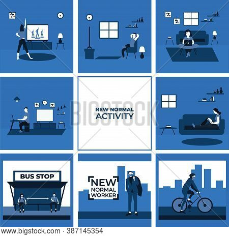 Stay At Home Activity, Social Distancing And Wear Masker At The Bus Stop, New Normal Worker, Ride A