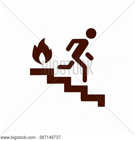 Fire Escape, Ladder, Man, Fire Solid Icon. Vector Illustration Isolated On White. Glyph Style Design