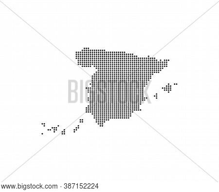 Spain, Country, Dotted Map On White Background. Vector Illustration.