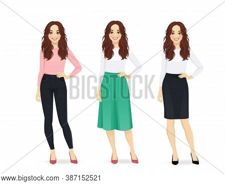 Young Happy Woman With Long Hair Dressed In Different Casual Business Style Clothes Set Isolated Vec