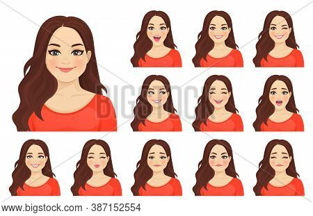 Beautiful Plus Size Woman With Different Facial Expressions Set Isolated Vector Illustration