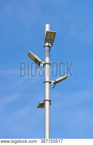Modern Street Lamp With Led Lamps On Blue Sky Background