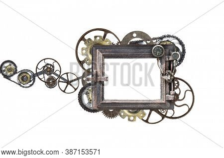 Metallic square frame with vintage machine gears and retro cogwheel. Isolated on white background. Mock up template. Copy space for text. Can be used for steampunk and mechanical design