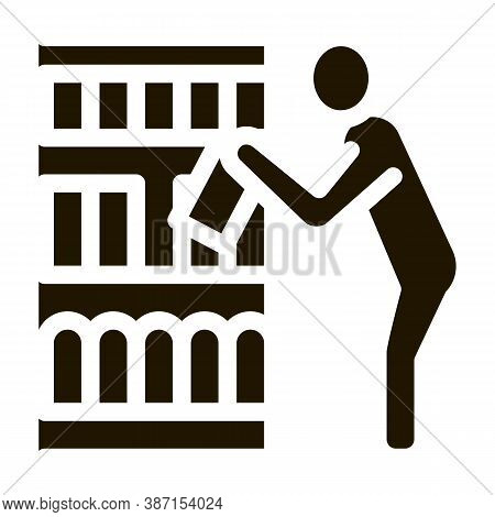 Man Choose Products Glyph Icon Vector. Man Choose Products Sign. Isolated Symbol Illustration