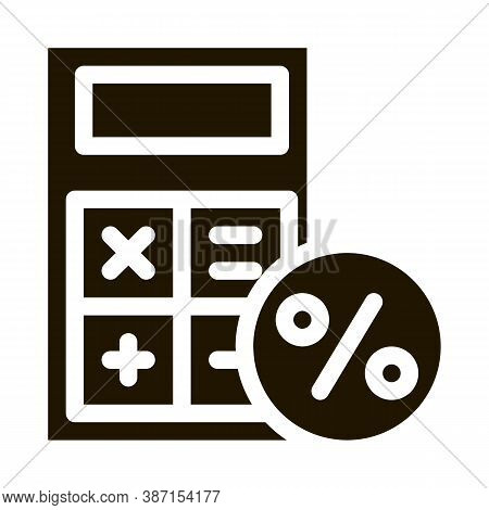 Math Calculator For Calculations Glyph Icon Vector. Math Calculator For Calculations Sign. Isolated