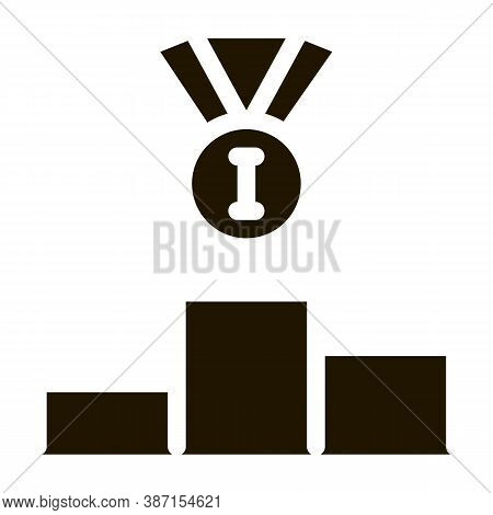Winning Medal For 1st Place Glyph Icon Vector. Winning Medal For 1st Place Sign. Isolated Symbol Ill