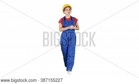 A Woman Construction Worker Talking To Camera In Confident Way O