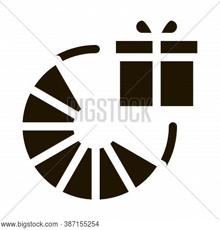 Wheel Of Fortune Gift Glyph Icon Vector. Wheel Of Fortune Gift Sign. Isolated Symbol Illustration