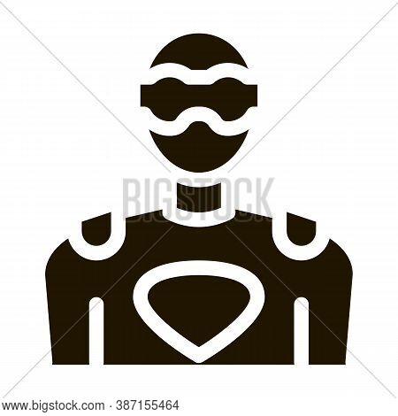 Super Hero Man Glyph Icon Vector. Super Hero Man Sign. Isolated Symbol Illustration