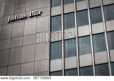 Zurich, Switzerland - June 15, 2020: Bank Julius Baer in the Swiss financial center. Julius Baer Group is a Swiss private banking group, which offers mainly wealth management