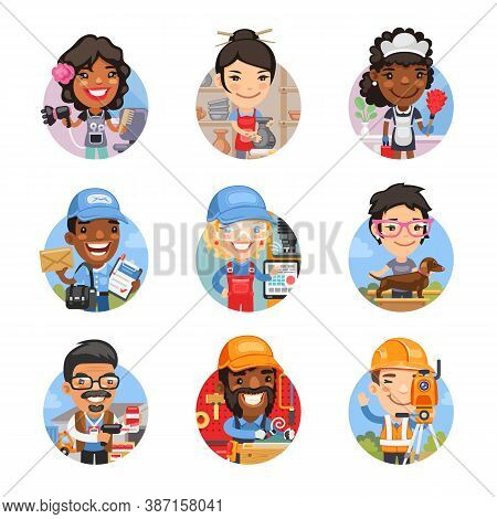 Set Of Avatars With People Of Different Professions. Hairdresser, Potter, Maid, Postman, Miller, Dog