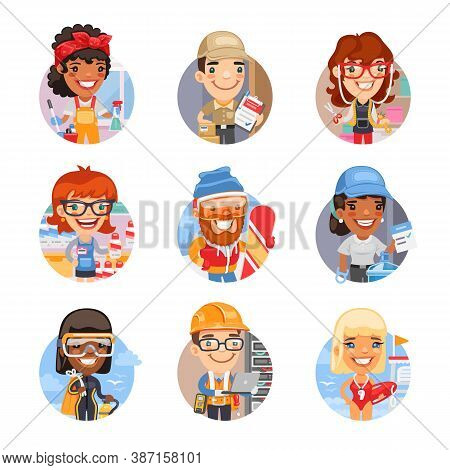 Set Of Avatars With People Of Different Professions. Cleaning Lady, Delivery Man, Tailor, Saleswoman