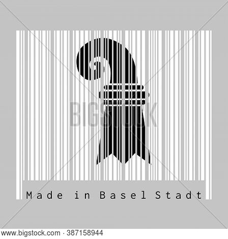 Barcode Set The Color Of Basel-stadt Flag, The Canton Of Switzerland With Text Made In Basel Stadt.