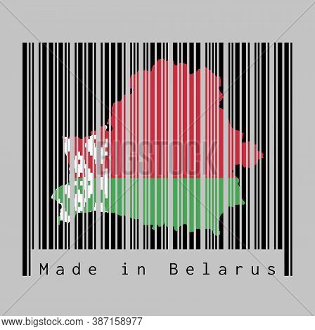 Barcode Set The Shape To Belarus Map Outline And The Color Of Belarus Flag On Black Barcode With Gre