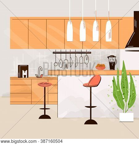 Vector Flat Illustration Of Modern Kitchen Interior Empty No People House Room With Kitchen Furnitur
