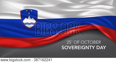 Slovenia Happy Sovereignty Day Greeting Card, Banner With Template Text Vector Illustration