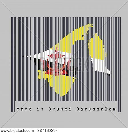 Barcode Set The Shape To Brunei Map Outline And The Color Of Brunei Flag On Black Barcode With Grey