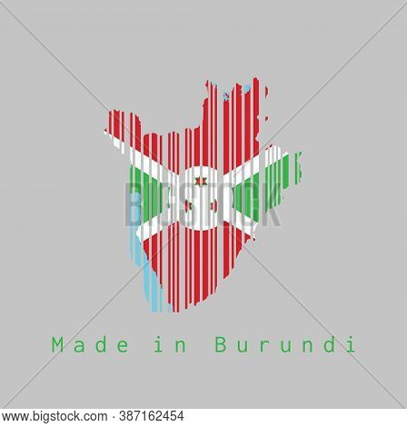 Barcode Set The Shape To Burundi Map Outline And The Color Of Burundi Flag On Grey Background, Text: