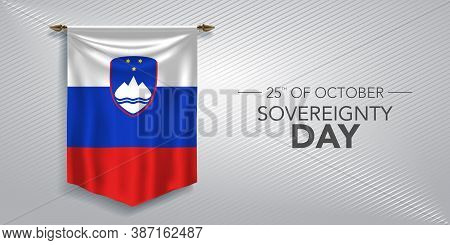 Slovenia Sovereignty Day Greeting Card, Banner, Vector Illustration