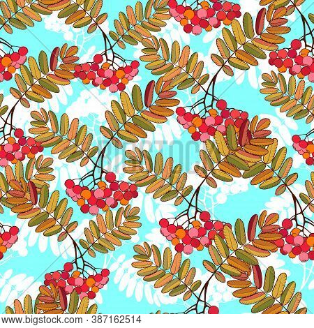 Autumn Decorative Rowanberry Seamless Pattern. Simple Fall Berries Repeatable Motif For Fabric, Wrap