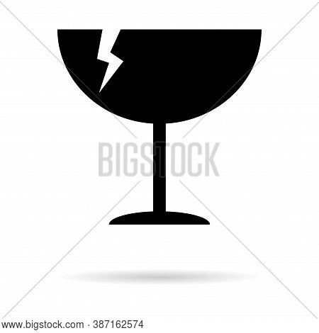 Fragile Flat Icon With Crack And Shadow Isolated On White Background. Fragile Package Symbol. Label