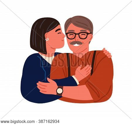 Portrait Of Happy Hugging Daughter And Father Vector Flat Illustration. Smiling Teen And Parent Embr