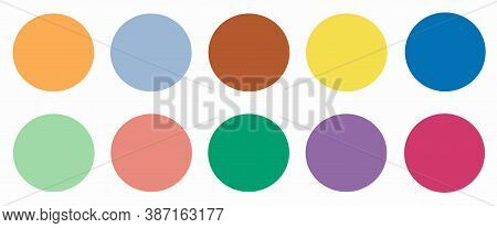 Set Of 10 Fashionable Colors Of Fashion Week For Spring-summer 2021. Colors In Circles, Web Banner.