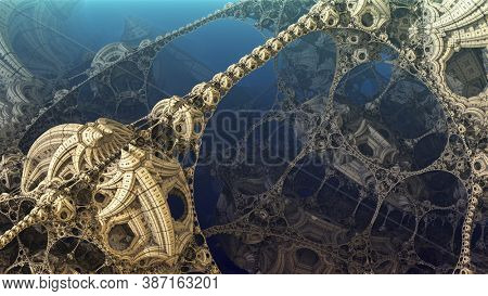 Abstract background, fantastic 3D gold structures, ancient civilization fictional background.
