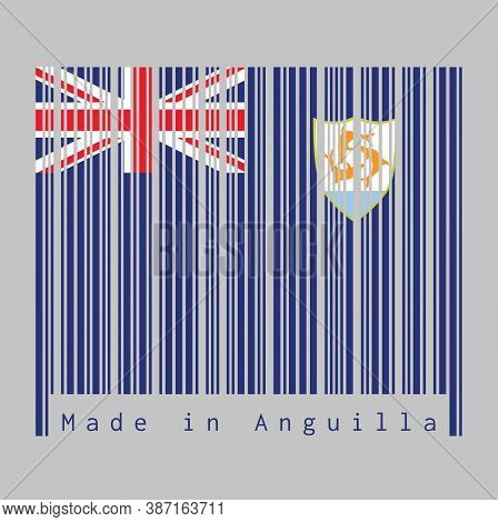 Barcode Set The Color Of Anguilla Flag, Blue Ensign With The British Flag And The Coat Of Arms Of An